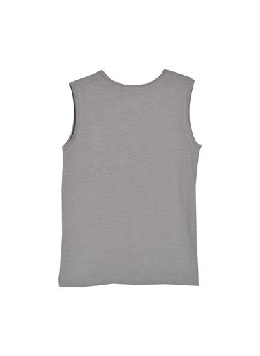 Silversun Kids Erkek Genç Cepli Yazlı Baskılı Kolsuz Tişört Bk 315836 Gri